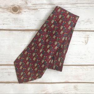 {Oscar de la Renta} Maroon Golfer print silk tie